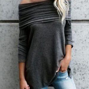 Tops - Off Shoulder Long Sleeve Slash Neck Tee Top Gray S